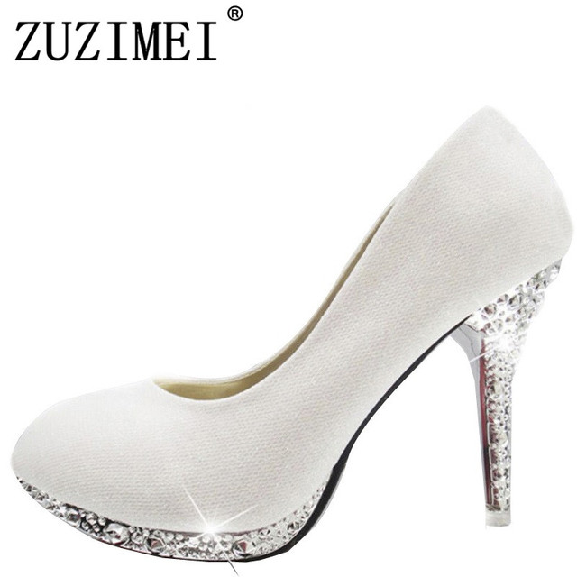 f65d1715dab US $19.48 40% OFF|2019 Women's Wedding Shoes Woman Bridal Evening Party Red  High Heels Shoes Sexy Women Pumps Glitter White Bridal Shoes Tacones-in ...