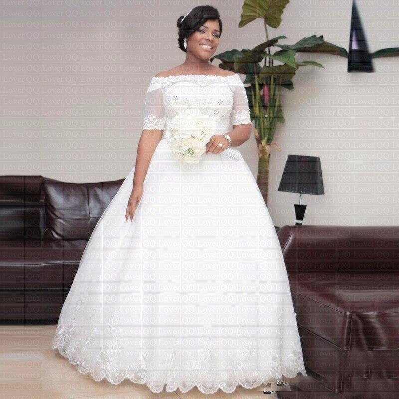 2019 African Luxury Crystals Beaded Wedding Dress Elegant Short Sleeves Arabic Bridal Gowns Vestido De Novia