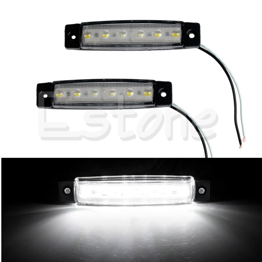 1Pair 6 LED Bus Van Boat Truck Trailer Side Marker Tail Light Lamp 12V White Car Light Source
