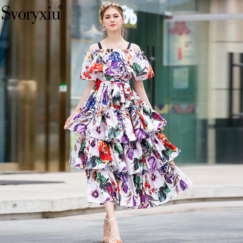 Svoryxiu Runway Summer Spaghetti Strap Maxi Dress Women's Floral Print Vacation Party Tiered Ruffles Off Shoulder Long Dresses