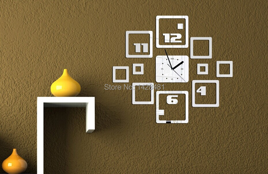 Square Frame And Firgure Letters Creative Living Room Wall Clock Art  ,Bedroom Room Quite Mirror Clock Sticker  In Wall Stickers From Home U0026  Garden On ...