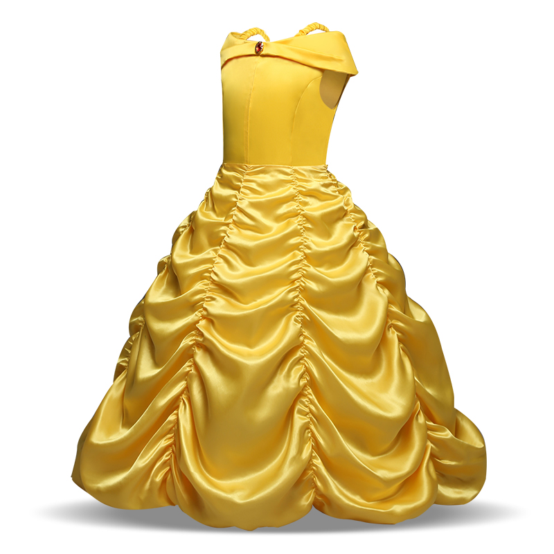 4 6 8 9 10 Girls Cosplay Dresss Elsa Cinderella Kids Shoulderless Yellow Fancy Dress Princess Childrens Costumes Party Clothes