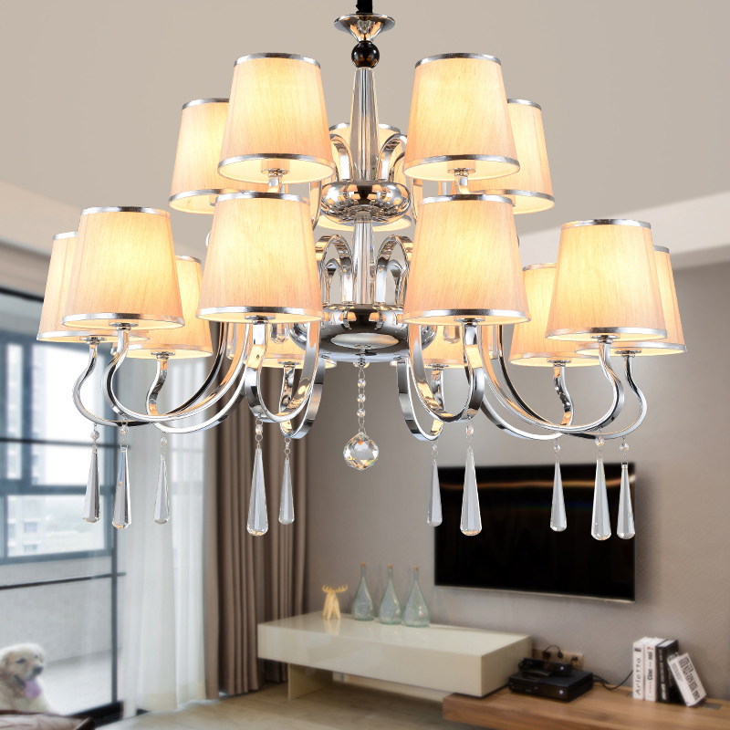 Modern LED Chandelier Light Indoor Lamp Lighting Fixtures Nordic Style Fabric Crystal E27 Luxury Interior Lights Home Decoration
