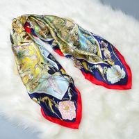 HANSCARF Roulés À La Main Épaissir Carré de Soie Écharpe Femmes 90 100% Satin Soie Scaves & Wraps Châle Bandana Hijab pour le Printemps automne