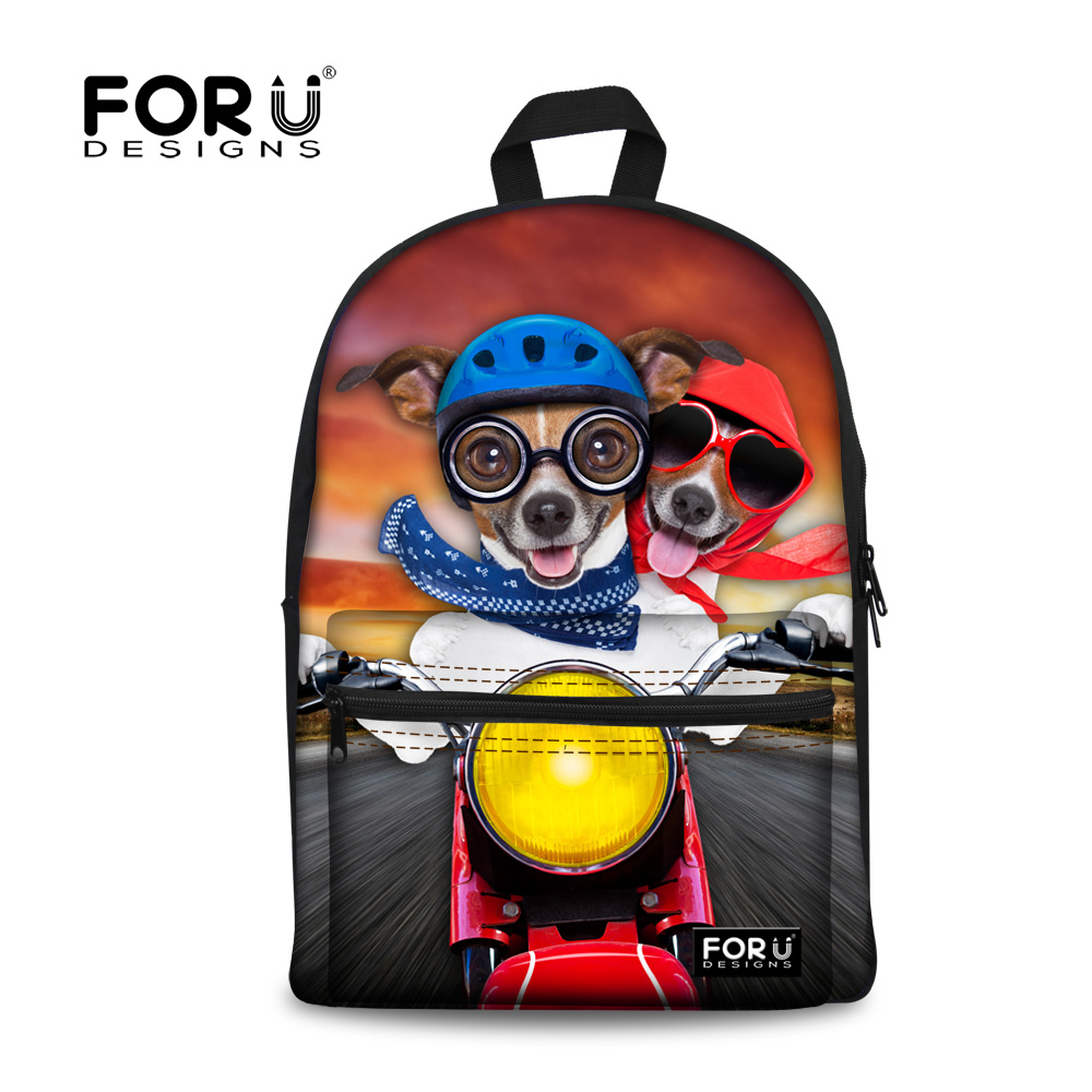Hot 2016 Women Backpacks Fashion School Backpack for Kids Children Animal Cute Dog Printed Girls Student Travel Bagpack Mochila instantarts cute children pug dog backpack men felt travel backpacks for teenege boys 3d animal printed student school bagpack