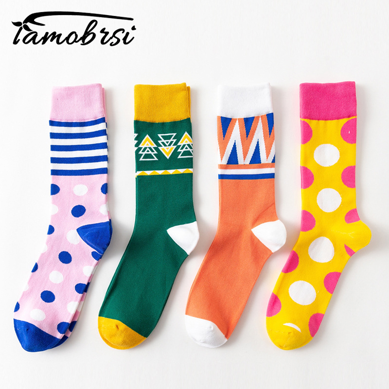 Men Socks Cartoon Elephant Flower Star Geometry Stripe Leopard Print Happy Funny Street Harajuku Male Hip Hop Skate Cotton Socks Underwear & Sleepwears