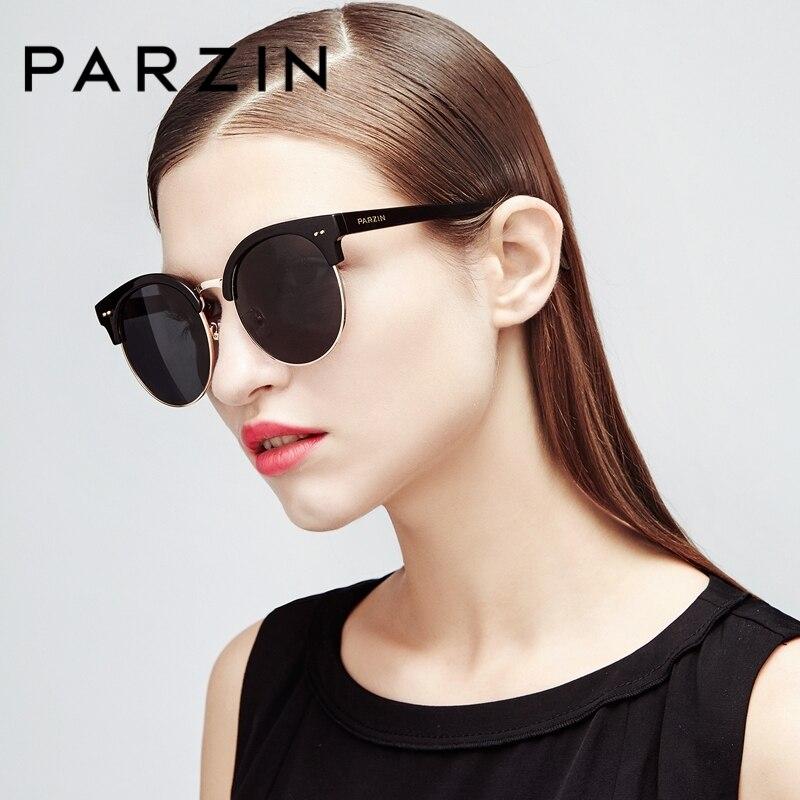 PARZIN Classic Round Sunglasses For Women Men Quality TR90 Semi-Rimless Frame Polarized Driving Anti-Glare Sun Glasses