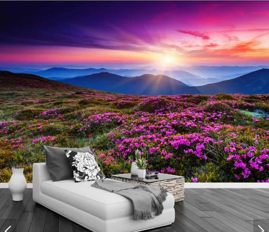 3d Ungu Mountain View Sunset Lukisan Dinding Wallpaper Dinding