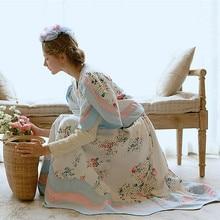 Линетт китайский стиль деревенский цветок лоза Порошок Синий принт хлопок ткань Женская юбка