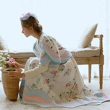 LYNETTE'S CHINOISERIE Rustic flower vine powder blue print cotton cloth female skirt