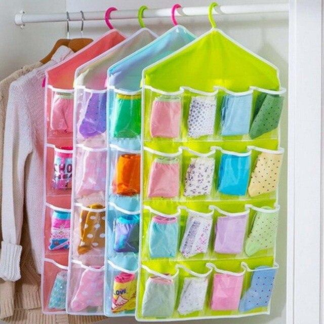 16 taschen faltbare garderobe socken slips organizer. Black Bedroom Furniture Sets. Home Design Ideas