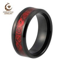 שחור טונגסטן קרביד טבעת נישואים לגברים נשים עם שחור פחמן סיבי אדום דרקון שיבוץ Comfort Fit