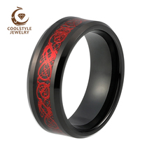 New Style 8mm Black Tungsten Carbide Ring Red Dragon over Black Carbon Fibre Mens Womens Wedding Band Size 5-15