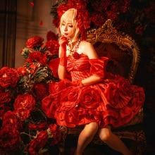 de9d668de02 Idol Emperor Nero Fate EXTRA Cosplay Saber Nero Cosplay Anime Fate EXTRA  Costume Red Rose Dress Women Costume Saber