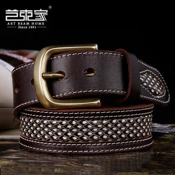 428 genuine boa & cowhide leather brass metal buckle super quality durable handmade belt