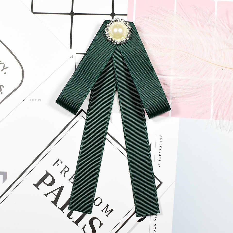 I - Remiel Pearl Ribbon Bow Tie Bowknot เข็มกลัดแฟชั่นผ้า Pins เสื้อ Bowtie เข็มกลัดดอกไม้น่ารักสำหรับผู้หญิงเสื้อ