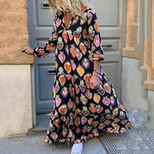 Red Sweet Boho Elegant Plus Size 5XL Party Summer Women Long Dresses Casual Heart Print Vintage Female Chic Retro Maxi Dress(China)