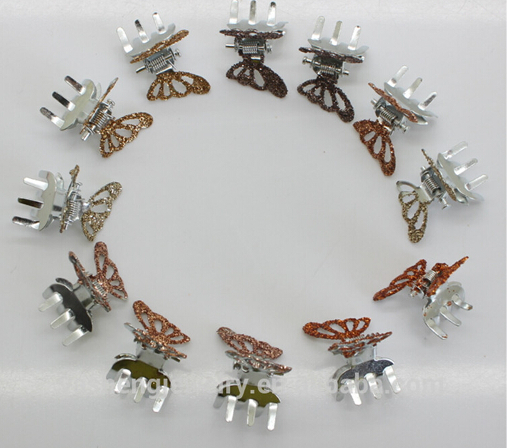 12/pack Shiny glitter Mini Small cute butterfly shaped metal hair claw clipshairpin the bride wedding Holiday hair accessories