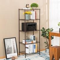 Yontree 1 Piece 5 Tiers Metal Bathroom Shelf Supreme Organization Rack for Home Kitchen Living Room with Wheel