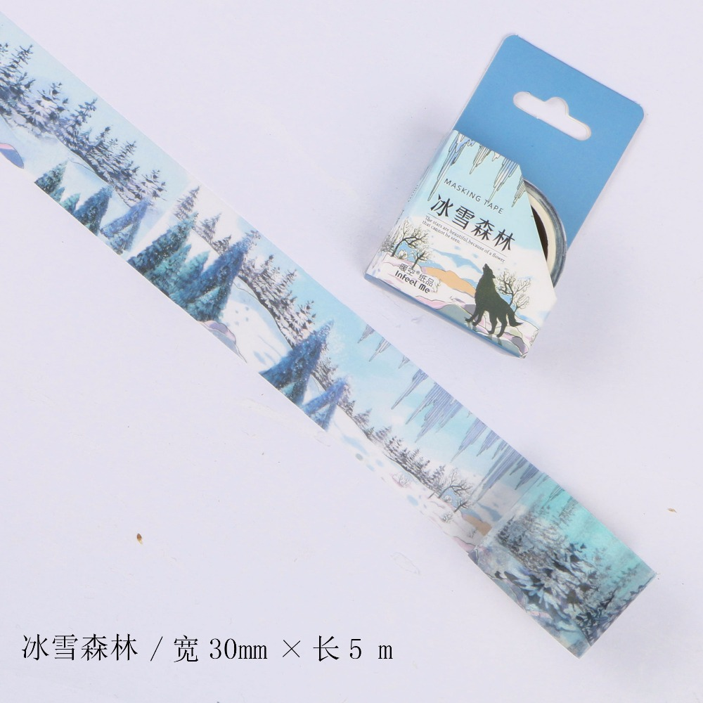 30mm Wide Ice Snow Forest Plants Fairy Tale Fantasy Decoration Washi Tape DIY Planner Scrapbooking Diary Masking Tape Escolar
