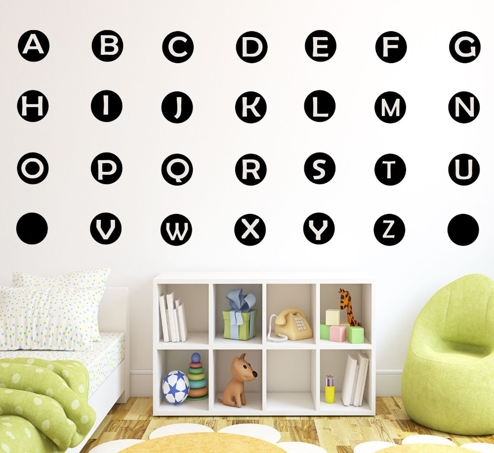 26 Alphabet Letter Wall Stickers Nursery Kids Learning Art Polka