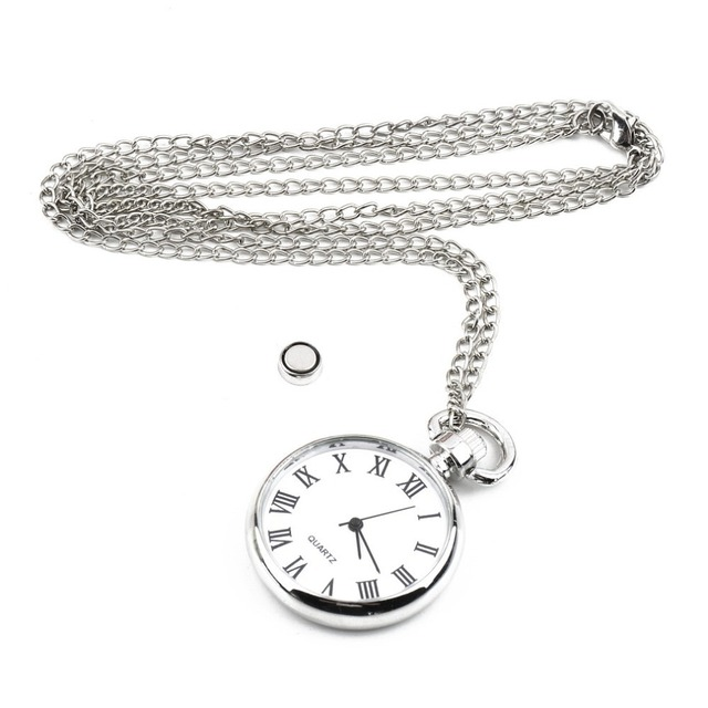 1pcs Quartz Round Pocket Watch Dial Vintage Necklace Silver Chain Pendant Antiqu