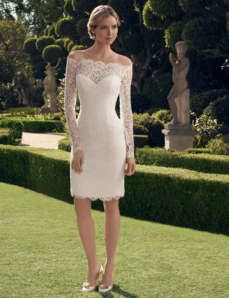 Simple Design Short Lace Wedding Dresses Long Sleeve Off Shoulder Sheath Above Knee Length Bridal Gowns Vestido De Noiva W140 In From