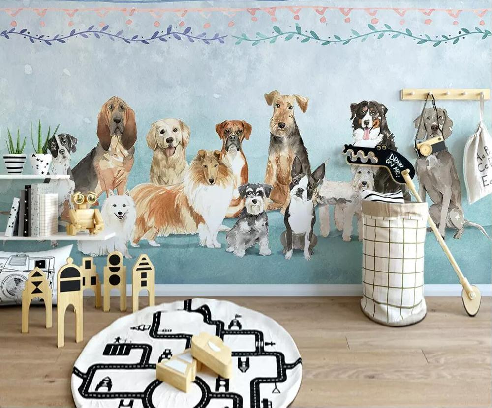 Beibehang Customized Modern Minimalist Cartoon Hand-painted Pet Puppy Personality Restaurant Pet Shop Background Wall Wallpaper