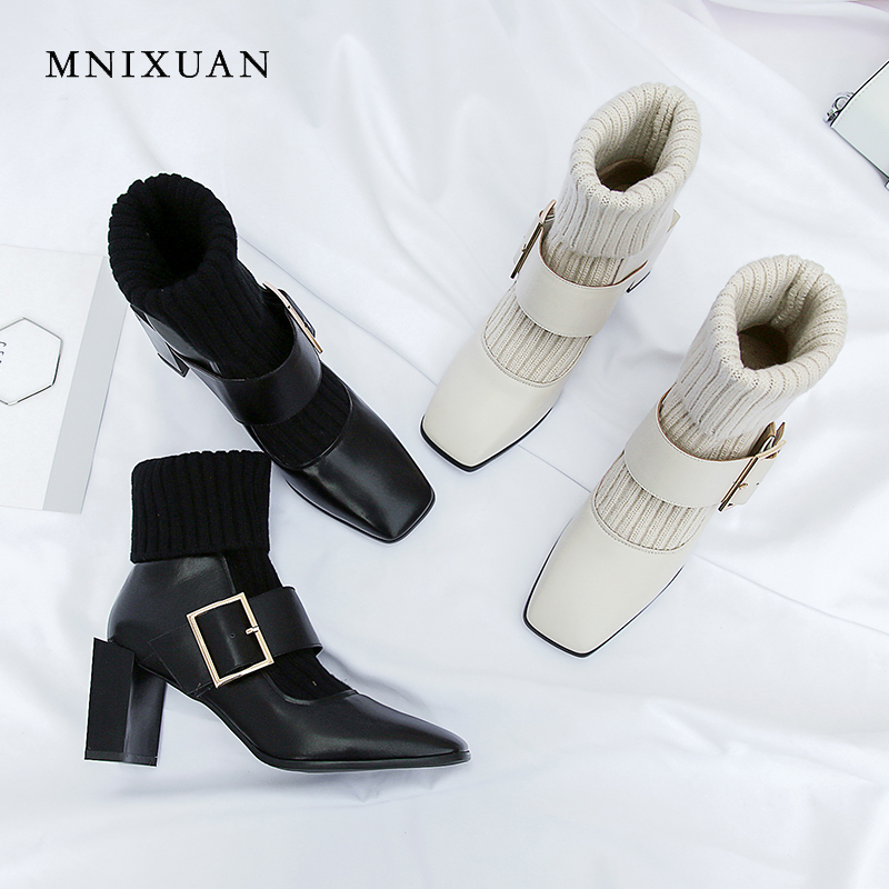 MNIXUAN womens leather mid calf boots heels 2018 winter cowhide retro square toe knitting belt buckle
