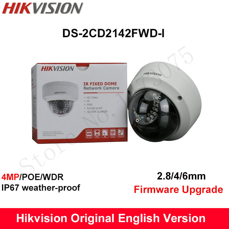 In Stock Hikvision English Version DS-2CD2142FWD-I  4MP CCTV Camera 120dB WDR P2P IP Camera POE Fixed Dome Mini Camera IP67 IK10 hikvision original english cctv camera ds 2cd2142fwd is 4mp fixed dome ip camera poe audio ip67 junction box ds 1280zj dm18