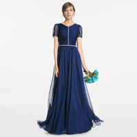 Tanpell beaded bridesmaid dress dark navy short sleeves floor length a line gown women wedding party formal bridesmaid dresses
