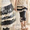 Spring Summer Lace Muti-layered Ruffles Fake Two Skirt Pants Women Elastic All Match Mori Girl Lacing Flower Leggings Pants V091