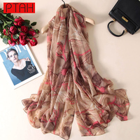 PTAH 2017 Fashion Summer Cool Oversized Pattern Floral Pure Silk Scarves For Women S Accessories Luxury