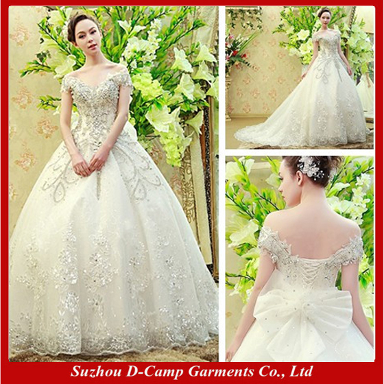 free shipping wd 1951 luxury hand made cap sleeves european style russian wedding dress crystal