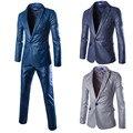 ( chaquetas + pantalones ) 2015 nuevos hombres de trajes delgado Custom Fit Tuxedo marca moda materiales especiales de negocios vestido de boda trajes Blazer