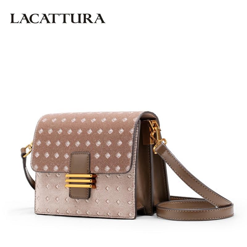 LACATTURA Women Messenger Bags Velour Diamond Handbag Lady Shoulder Small Bag Crossbody for Girls Fashion Clutch Patchwork Color