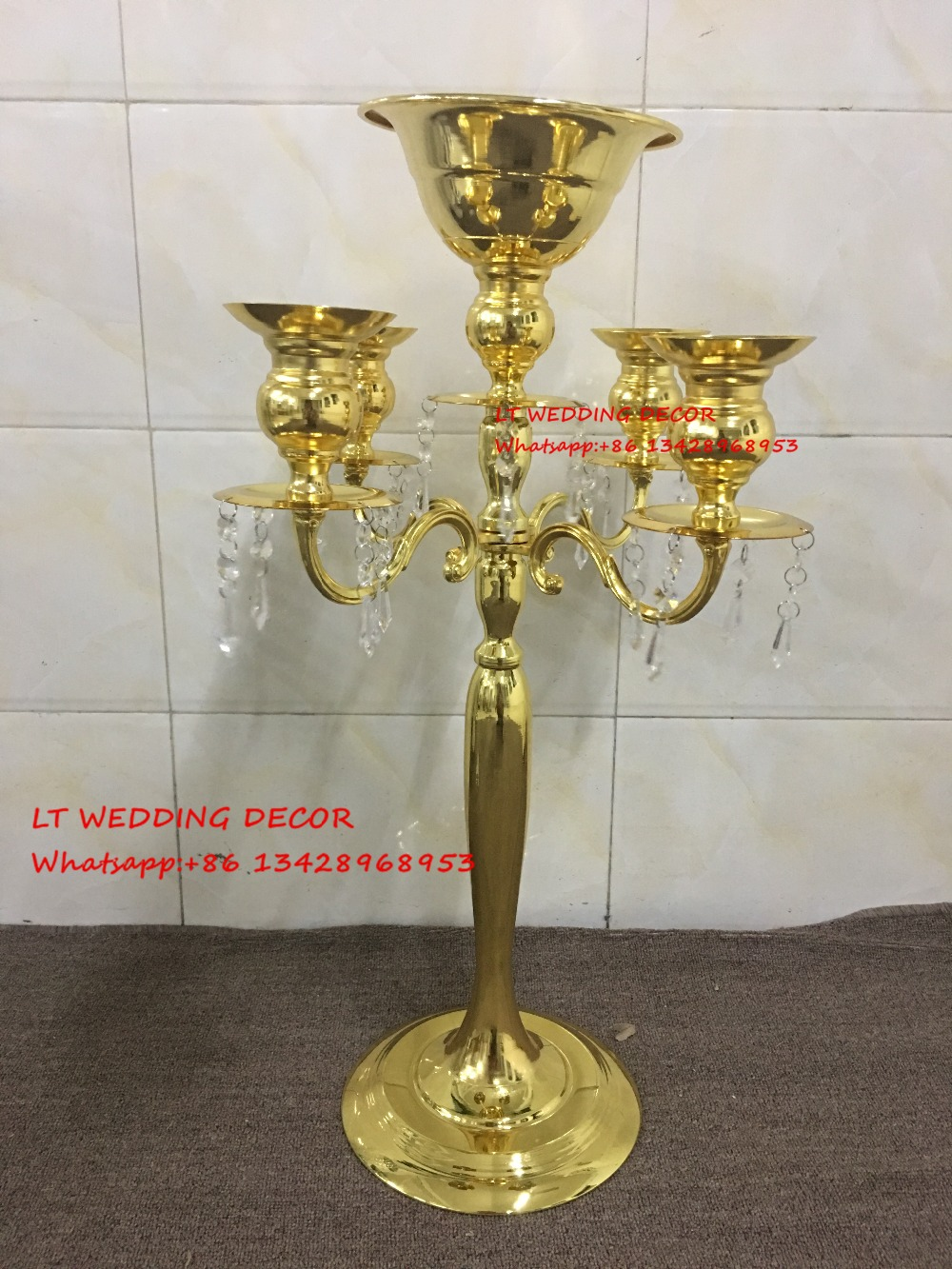 5 Arms Gold Crystal Candelabra Candle Holder Wedding