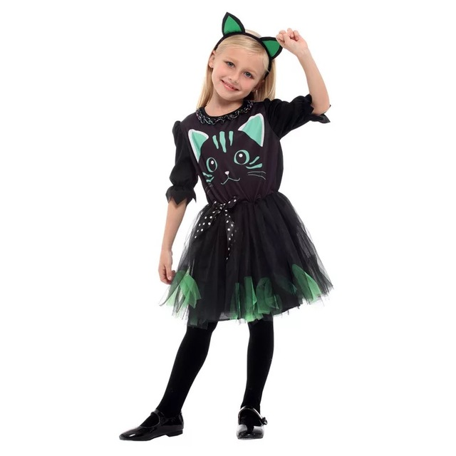 Kid Girls Halloween Black Cat Costume Funny Tutu Dress With Headband