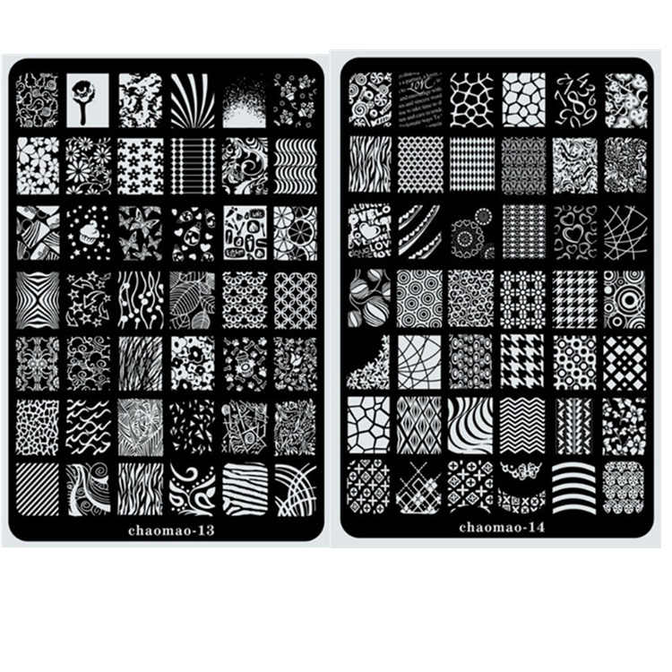 2017 NEW CHAOMAO XL SIZE Image Plate for stamping nail art stencil template metal various patterns flowers full cover lace