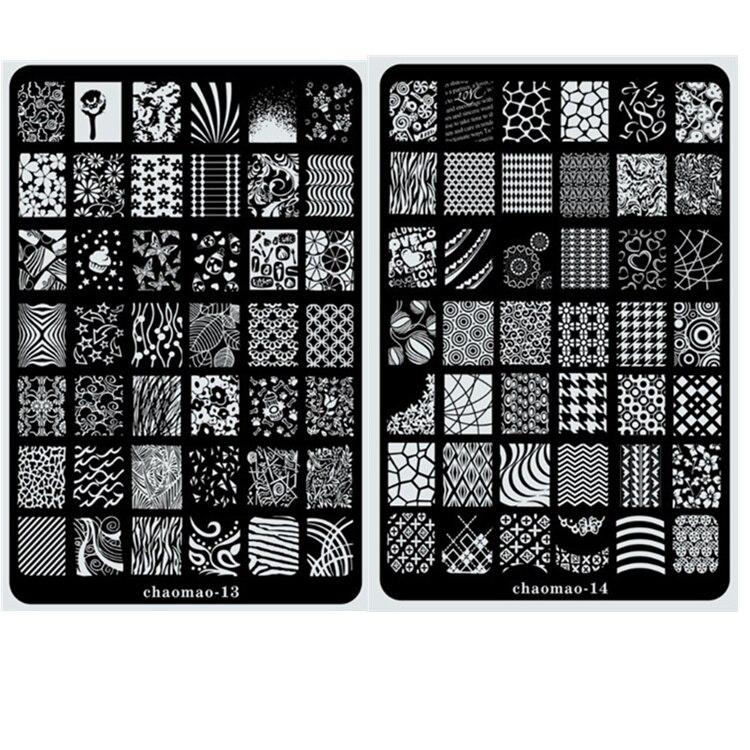 CHAOMAO XL размер пластины для стемпинга, трафарет для дизайна ногтей, узор из металла, разные узоры, цветы, полное покрытие, кружево, новинка 2017 image plate for stampingplates for nails   АлиЭкспресс