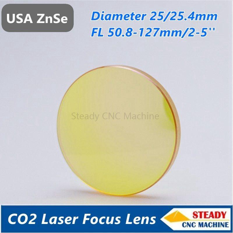 USA ZnSe laser focus lens diameter 25mm FL 38.1 50.8 63.5 101.6mm 127mm 1.5 5 for laser engraver