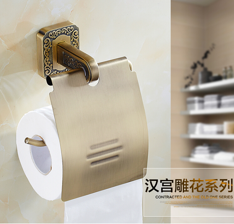 High Quality antique toilet paper holder copper paper roll holder tissue box bathroom hardware luxury paper roll holder black of toilet paper all copper toilet tissue box antique toilet paper basket american top hand cartons