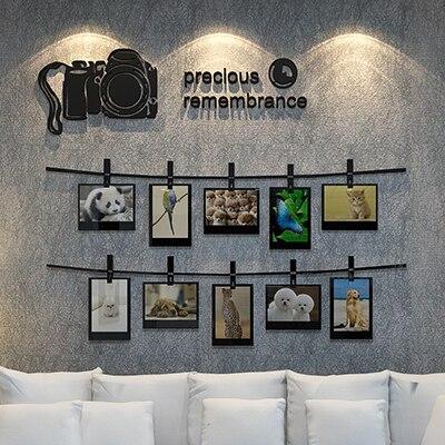 Nouveauté caméra souvenirs 3D stéréoscopique Stickers muraux Photo mur pour salon canapé décoré chambre acrylique autocollants art
