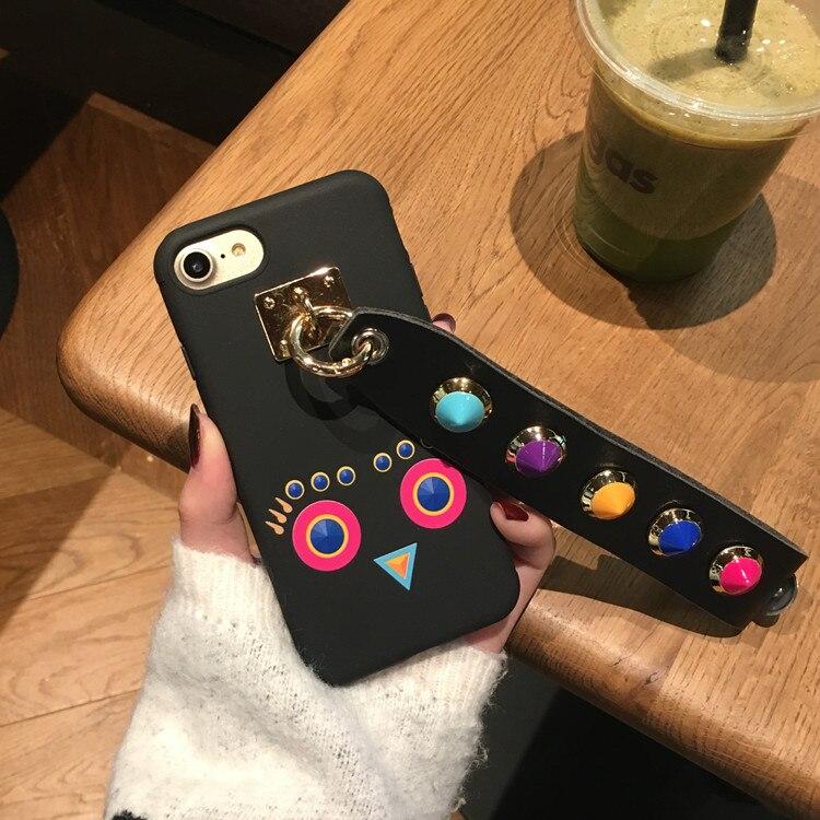 Corea del fumetto rivet wristband per iphone7 6 splus cassa del telefono mobile di guscio di silicone di goccia resistenza creatività all-inclusive