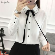2018 New Style Lady White Shirts Formal Chiffon Blouse Work Korean Women Clothing Wear Office Ladies OL Tops