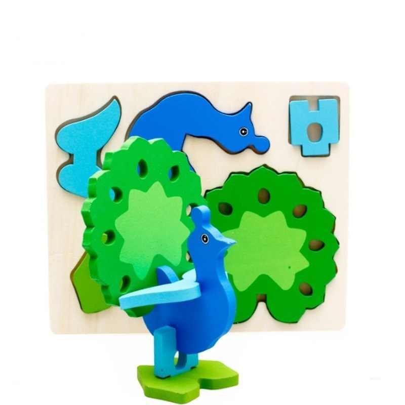 3D ילדים פאזל עץ צעצוע קריקטורה בעלי חיים תנין כלב סוס אפרוח פינגווין פאזלים צעצועים חינוכיים לילדים מתנות
