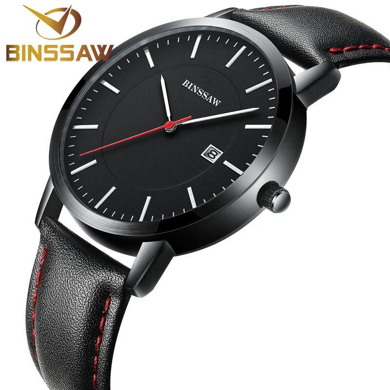 BINSSAW 2017 new men quartz watch waterproof leather calendar Chinese luxury brand fashion Business watches relogio masculino