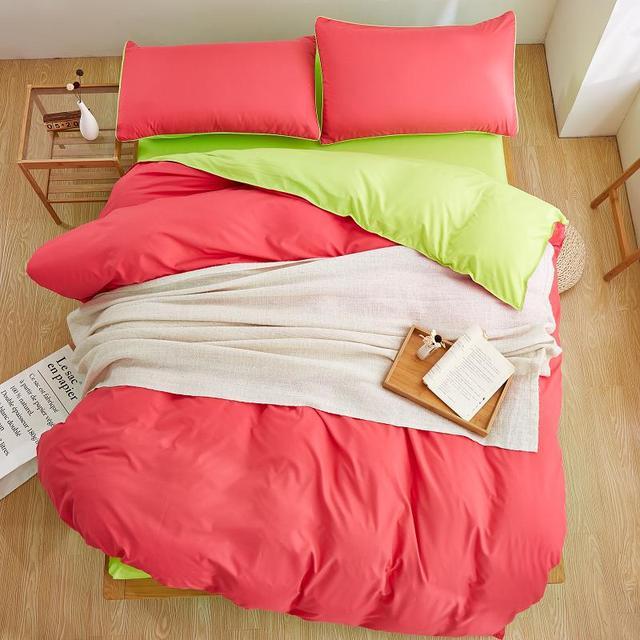Home Textiles Bright Green Pink Solid Color Bedding Sets 3 4pcs