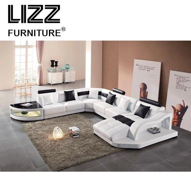 Comfortable Simple U Shape Modern Genuine Leisure Leather Sofa Best