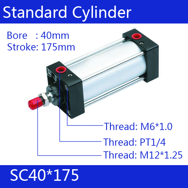 Free shipping 5pcs  Standard air cylinders valve 40mm bore 175mm stroke SC40-175 single rod double acting pneumatic cylinder sc32 175 sc series standard air cylinders valve 32mm bore 175mm stroke sc32 175 single rod double acting pneumatic cylinder